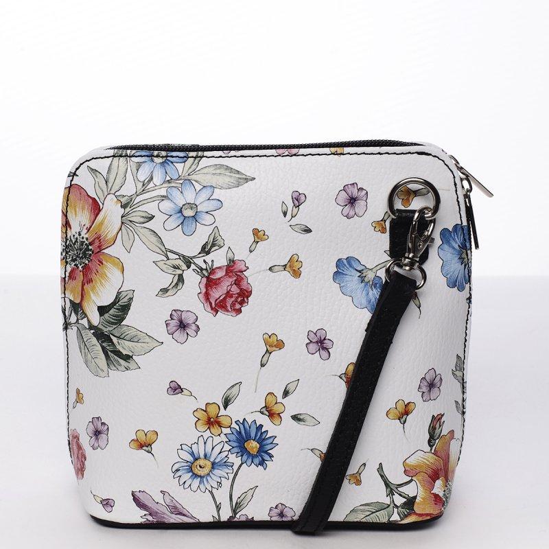 Romantická dámská kožená kabelka bílo černá Emma