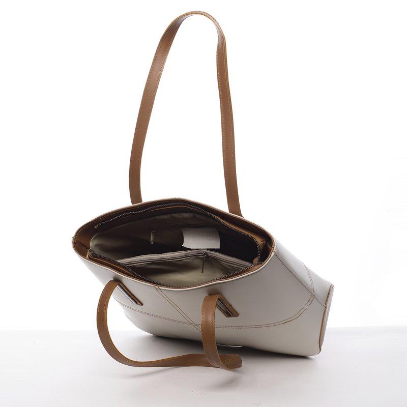 Stylová dámská kožená kabelka Liliana béžová/koňaková