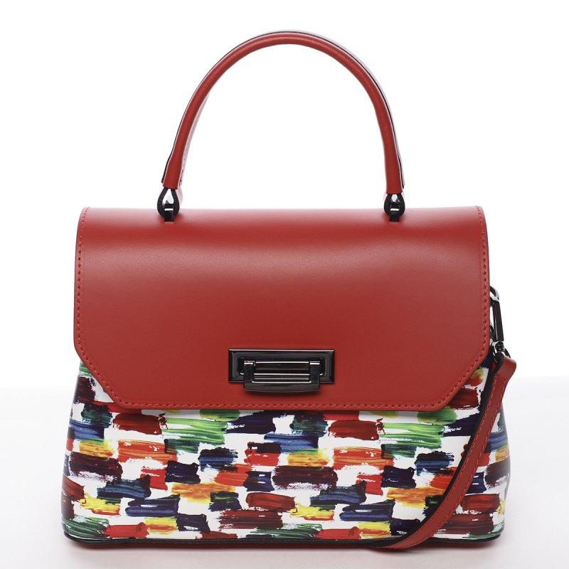 Extravagantní kožená dámská kabelka červená Ingrid
