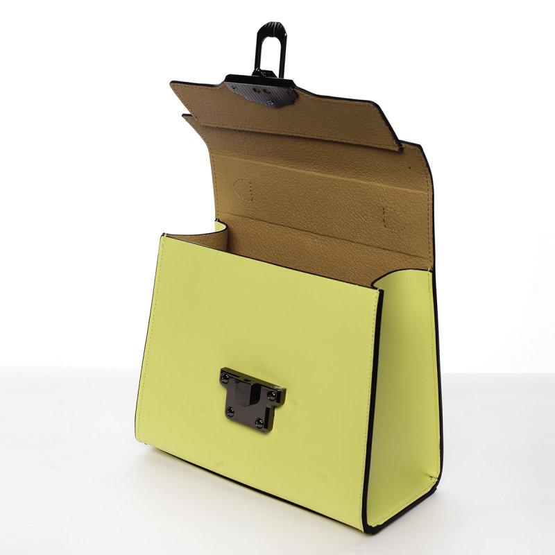 Módní dámská kožená kabelka Melánia žlutá