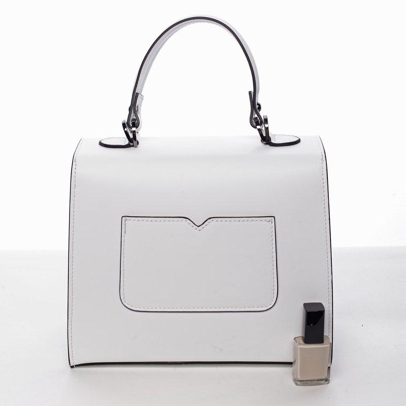 Módní dámská kožená kabelka Melánia bílá