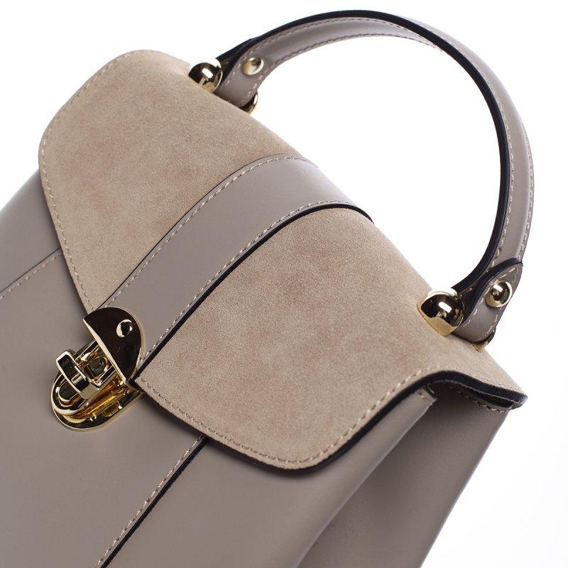 Luxusní dámský kožený batůžek Lýdia tmavě béžová