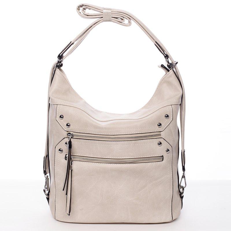 Módní praktická dámská kabelka Jelena krémová