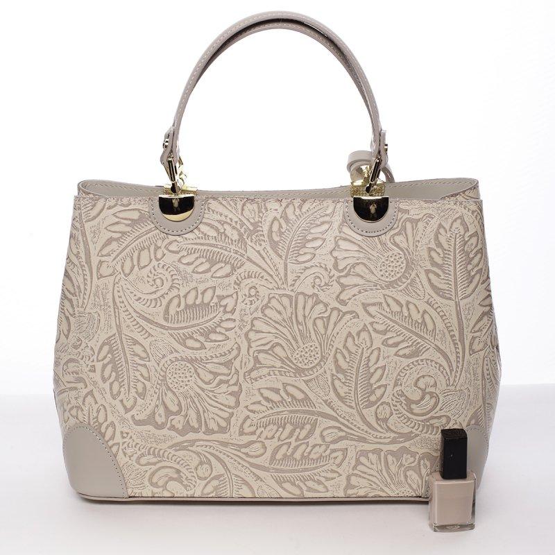 Luxusní dámská kožená kabelka Johana tmavě béžová