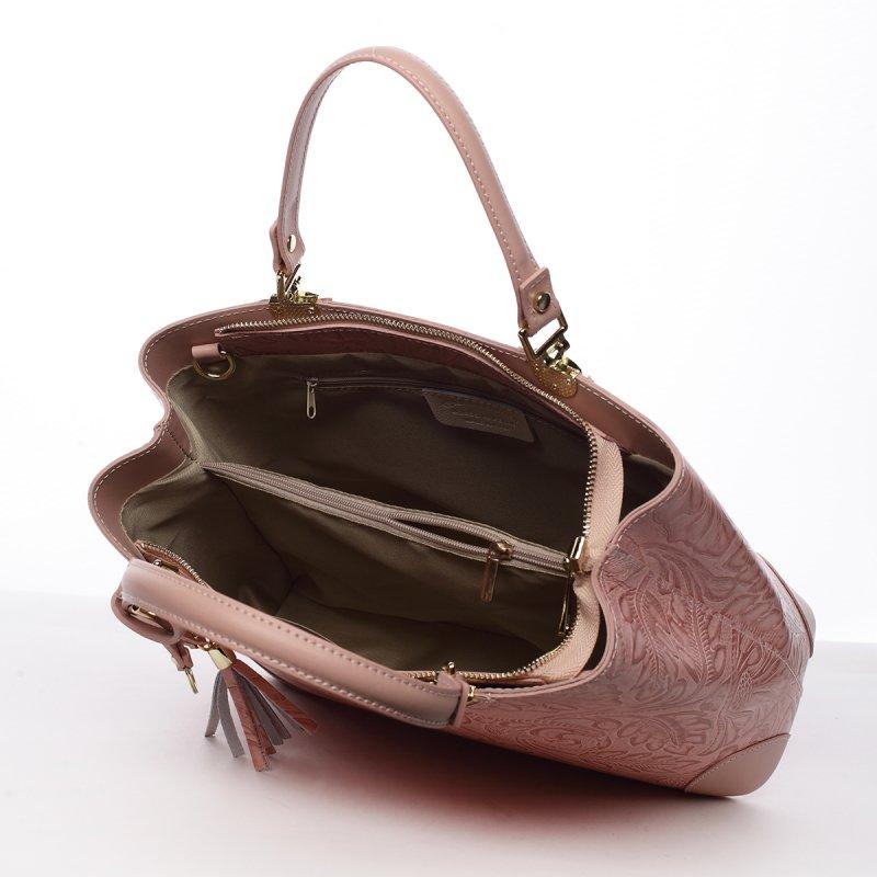 Luxusní dámská kožená kabelka Johana růžová