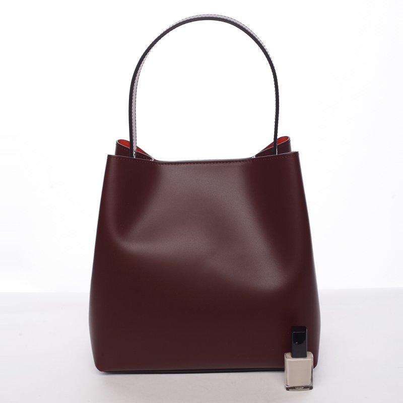 Módní dámská kožená kabelka Janka tmavě červená
