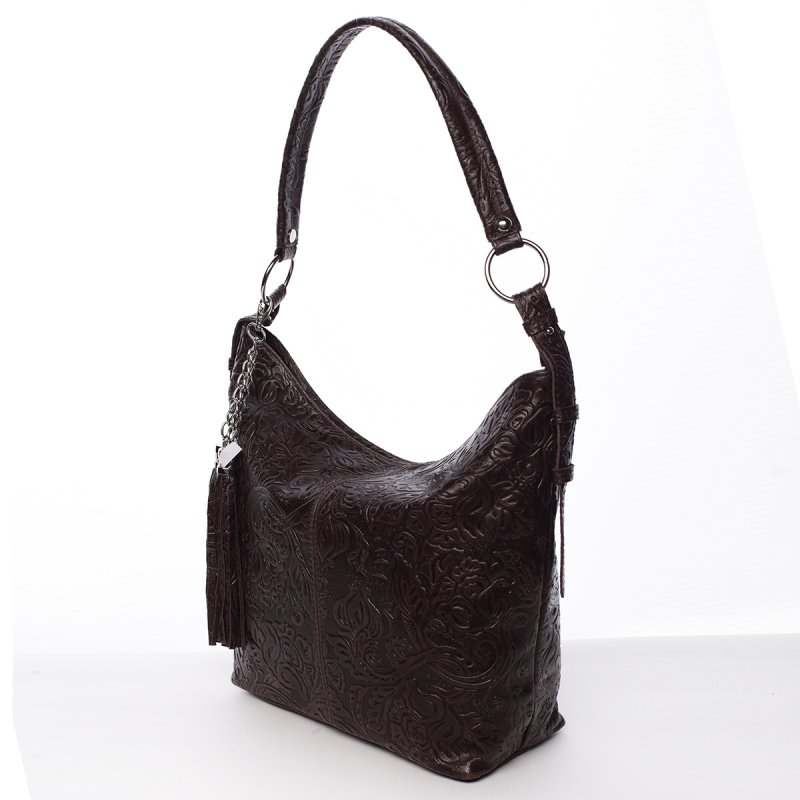 Stylová dámská kožená kabelka Sandra tmavě červená