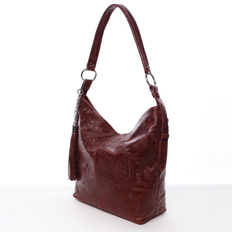 Stylová dámská kožená kabelka Sandra červená