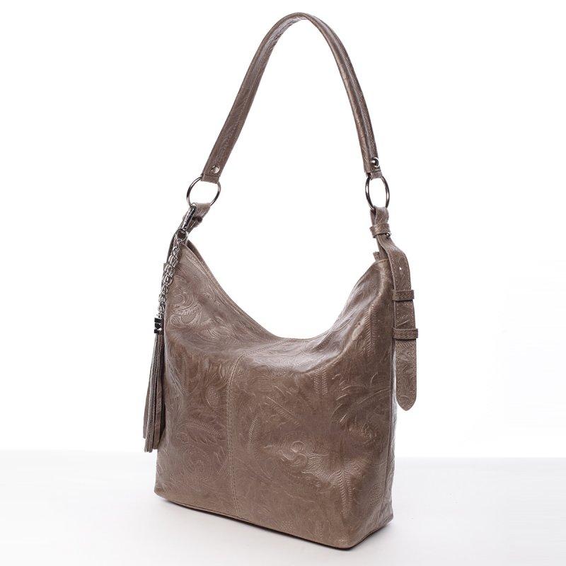 Stylová dámská kožená kabelka Sandra tmavě béžová