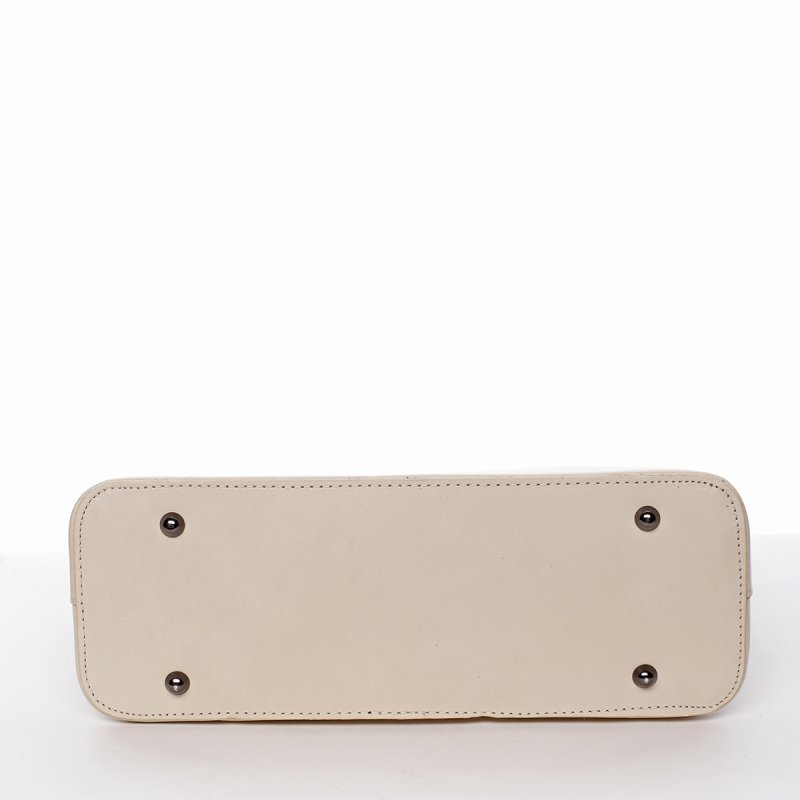 Luxusní dámská kožená kabelka Silvia béžová