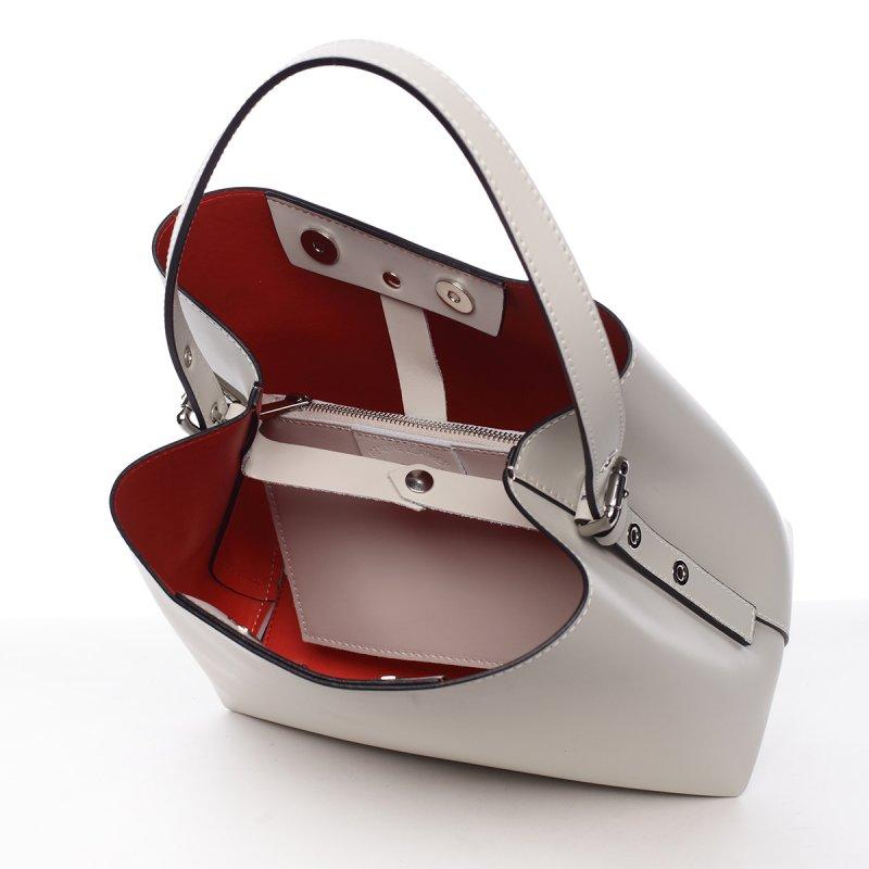 Módní dámská kožená kabelka Janka béžová