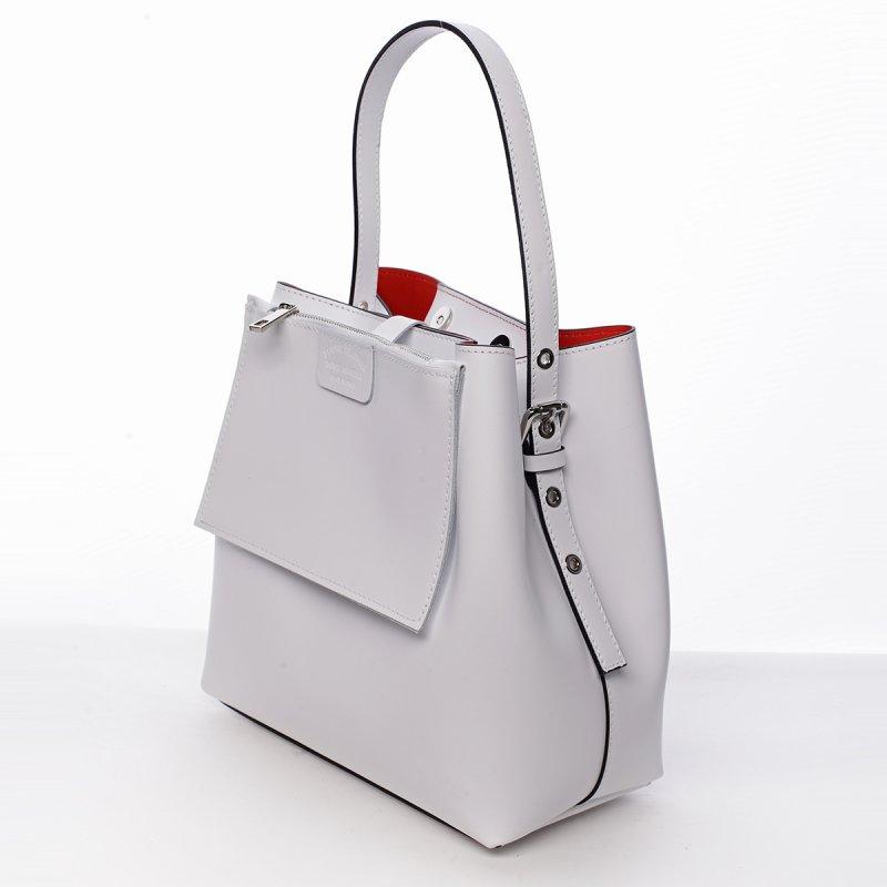 Módní dámská kožená kabelka Janka bílá