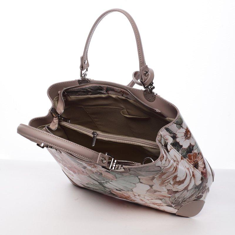 Barokní dámská kožená kabelka béžová s kytičkami Rose
