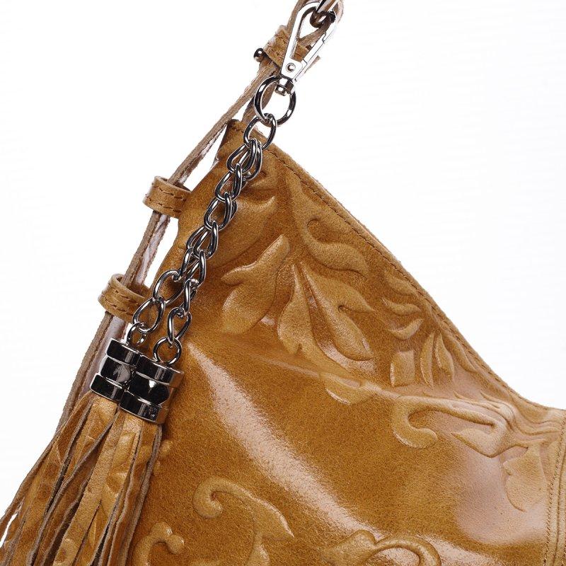 Stylová dámská kožená kabelka Sandra koňaková
