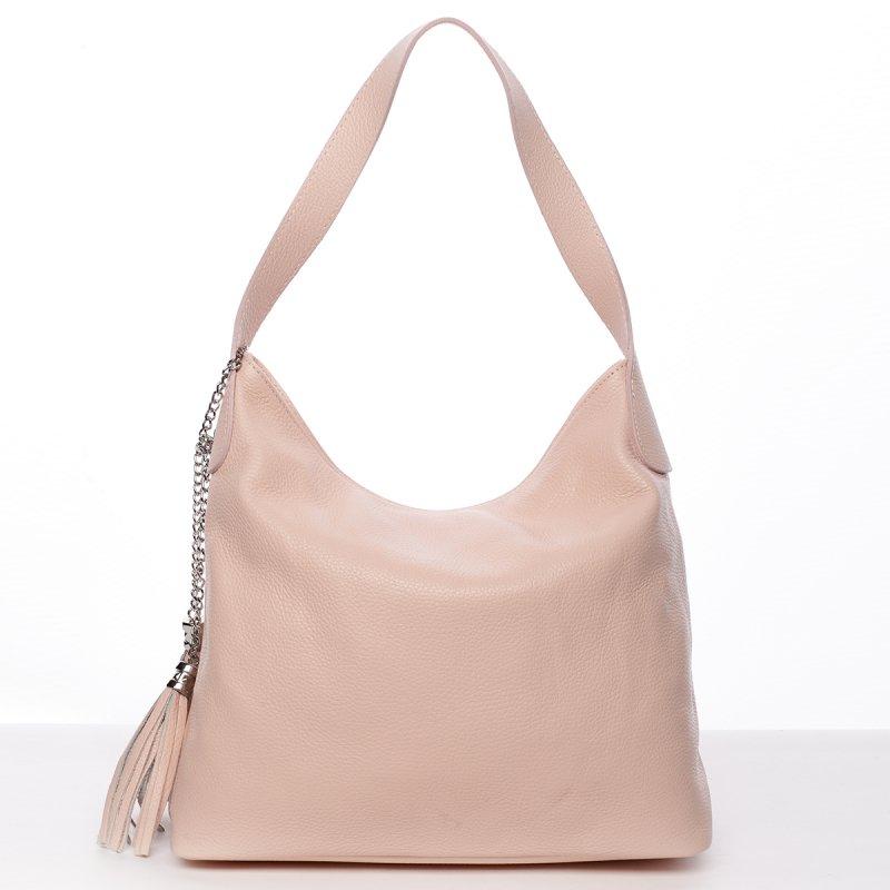 Trendy kožená dámská kabelka Evelína růžová