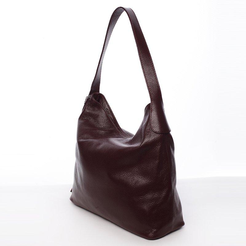 Trendy kožená dámská kabelka Evelína tmavě červená