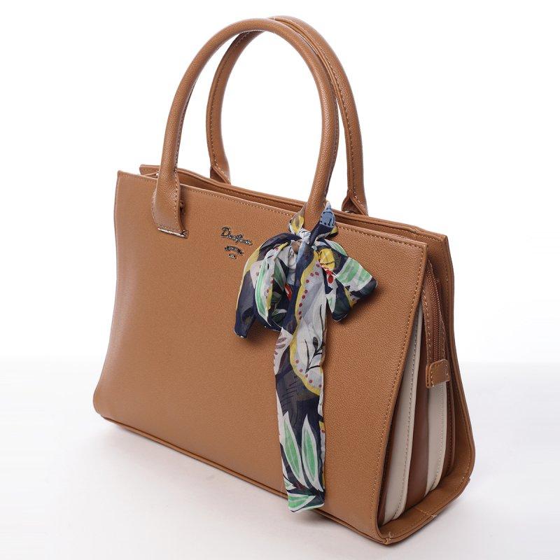 Elegantní dámská koženková kabelka s šátkem Milly camel