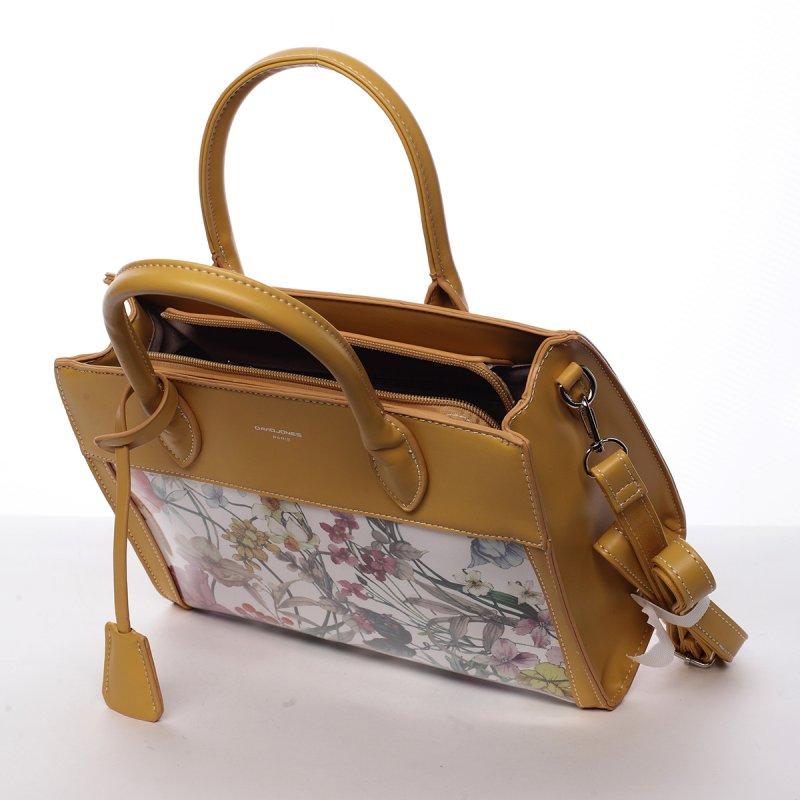 Luxusní dámská koženková kabelka Alina žlutá
