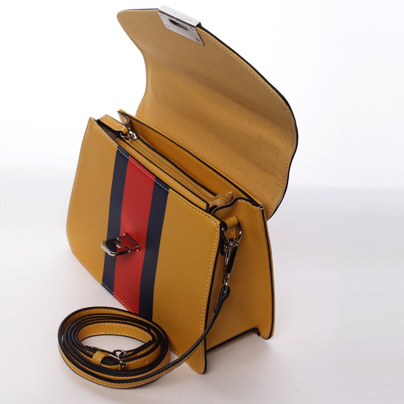 Exkluzivní dámská koženková kabelka žlutá Tiana