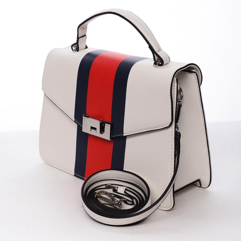 Exkluzivní dámská koženková kabelka bílá Tiana