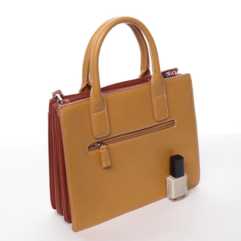 Francouzská koženková dámská kabelka Alana žlutá