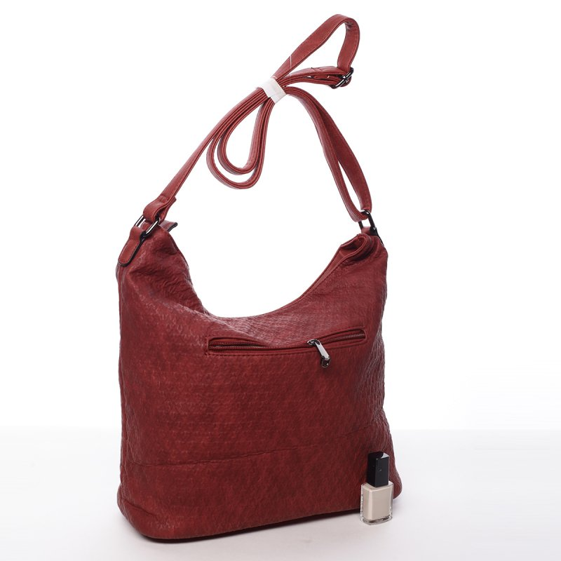 Praktická dámská koženková kabelka Nora červená