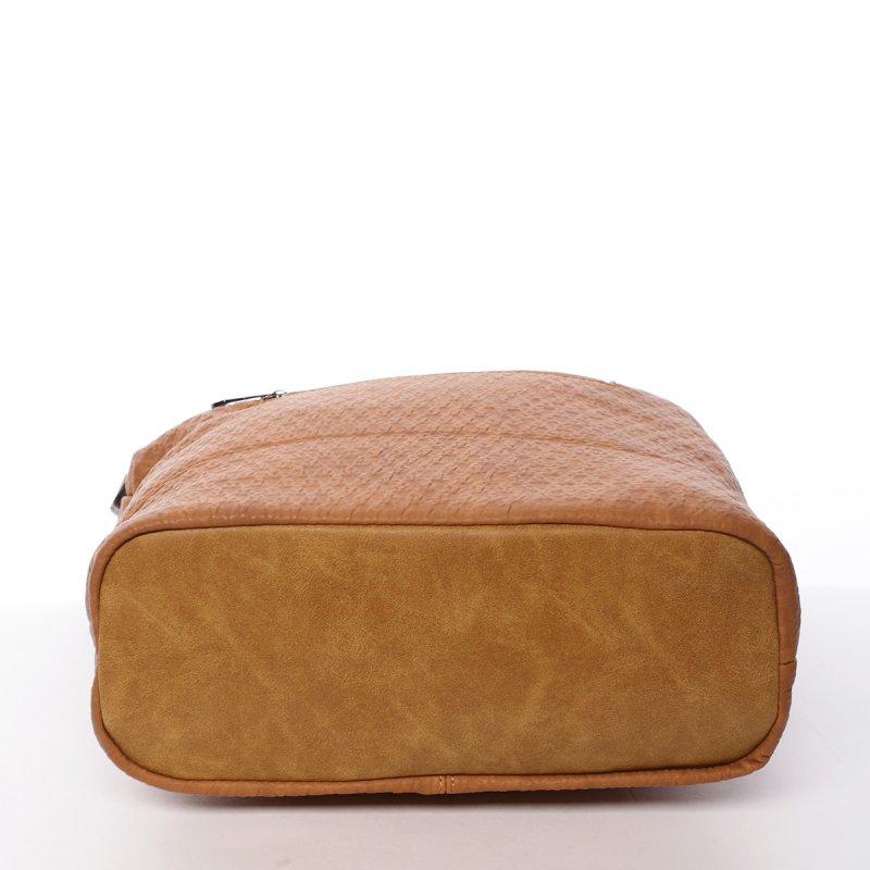 Praktická dámská koženková kabelka Nora koňaková