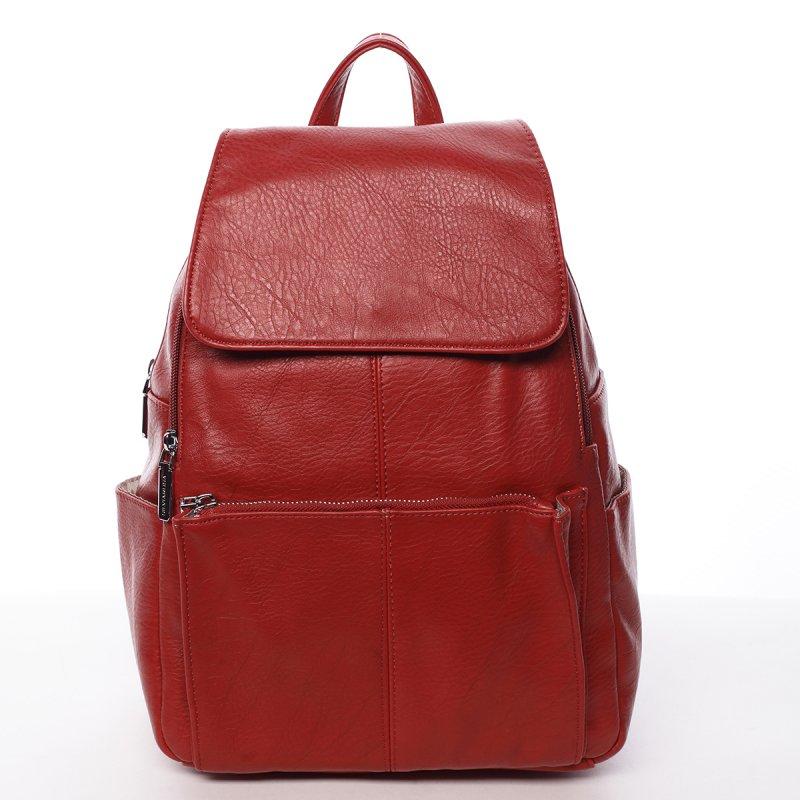 Větší koženkový dámský batoh Linda červená