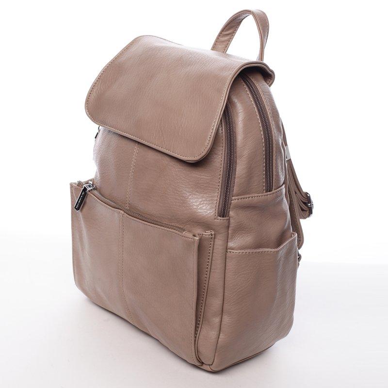 Větší koženkový dámský batoh Linda béžová