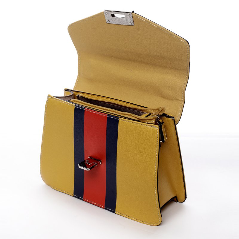 Módní dámská koženková kabelka Karina žlutá