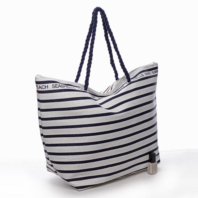 Plážová taška Daniela bílá/modrá
