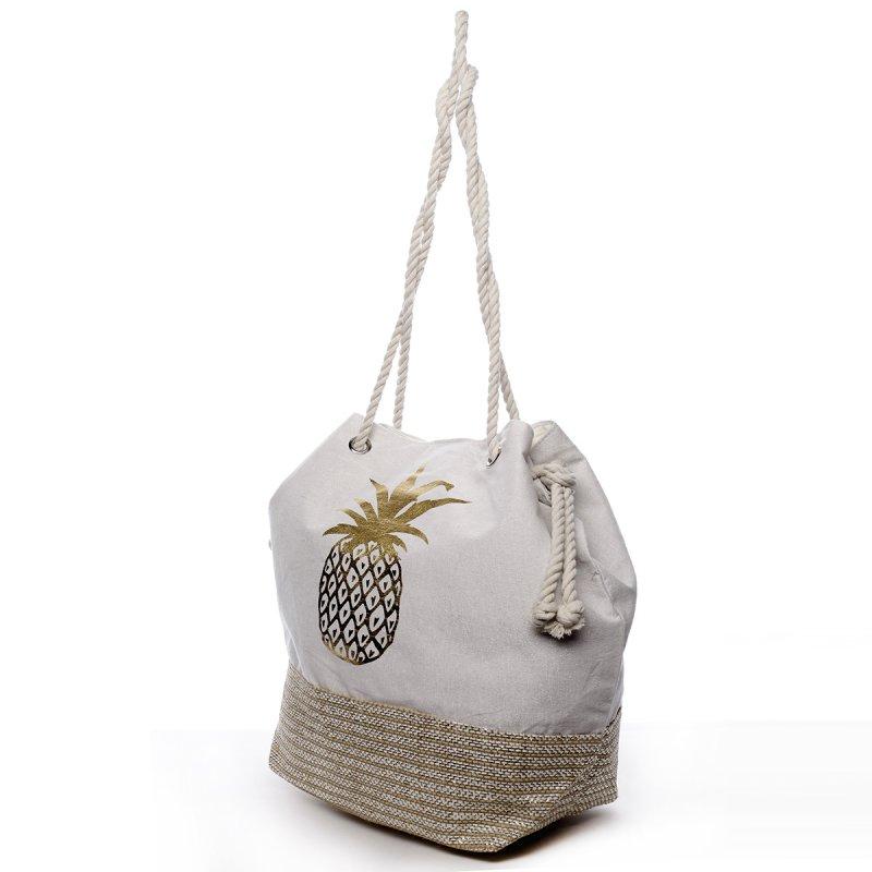 Plážová taška Vilma bílá/zlatá