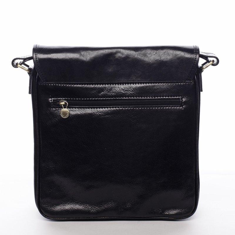 Pánská kožená stylová taška s překlopem Ernest černá
