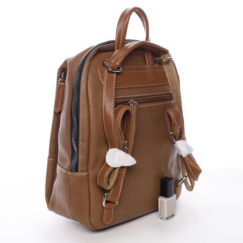 Dámský městský koženkový batoh Mia koňakový