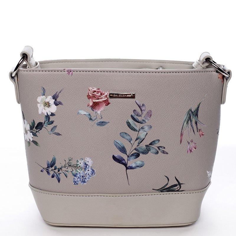 Romantická dámská koženková květovaná kabelka Nalda šedá