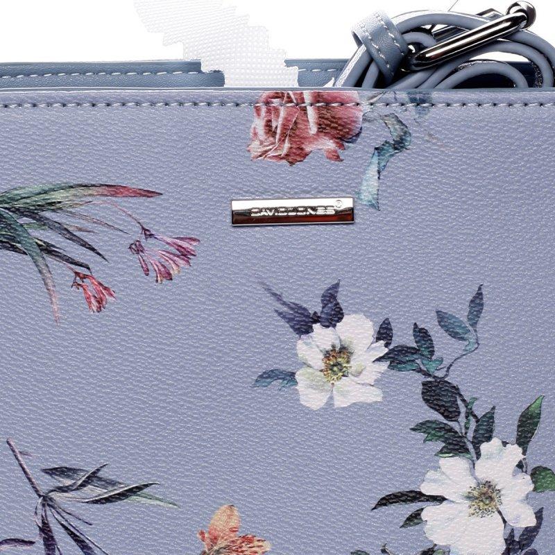 Romantická dámská koženková květovaná kabelka Nalda modrá