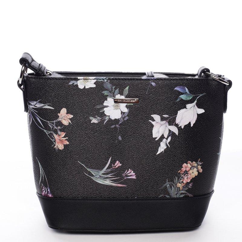 Romantická dámská koženková květovaná kabelka Nalda černá