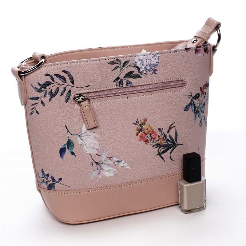 Romantická dámská koženková květovaná kabelka Nalda růžová