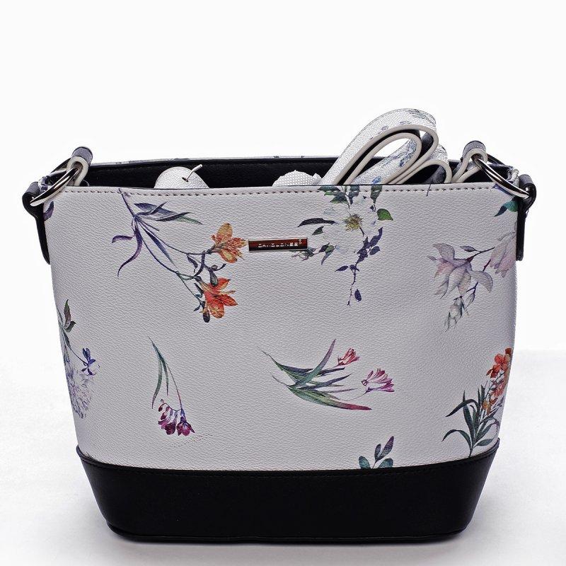 Romantická dámská koženková květovaná kabelka Nalda bílo černá