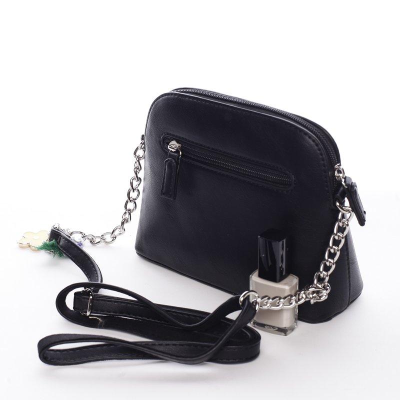 Moderní dámská koženková kabelka s přívěškem Flower černá