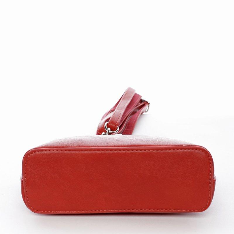 Moderní dámská koženková kabelka s přívěškem Flower červená