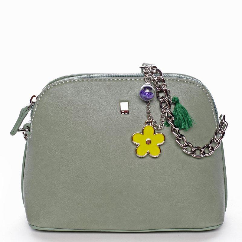 Moderní dámská koženková kabelka s přívěškem Flower zelená