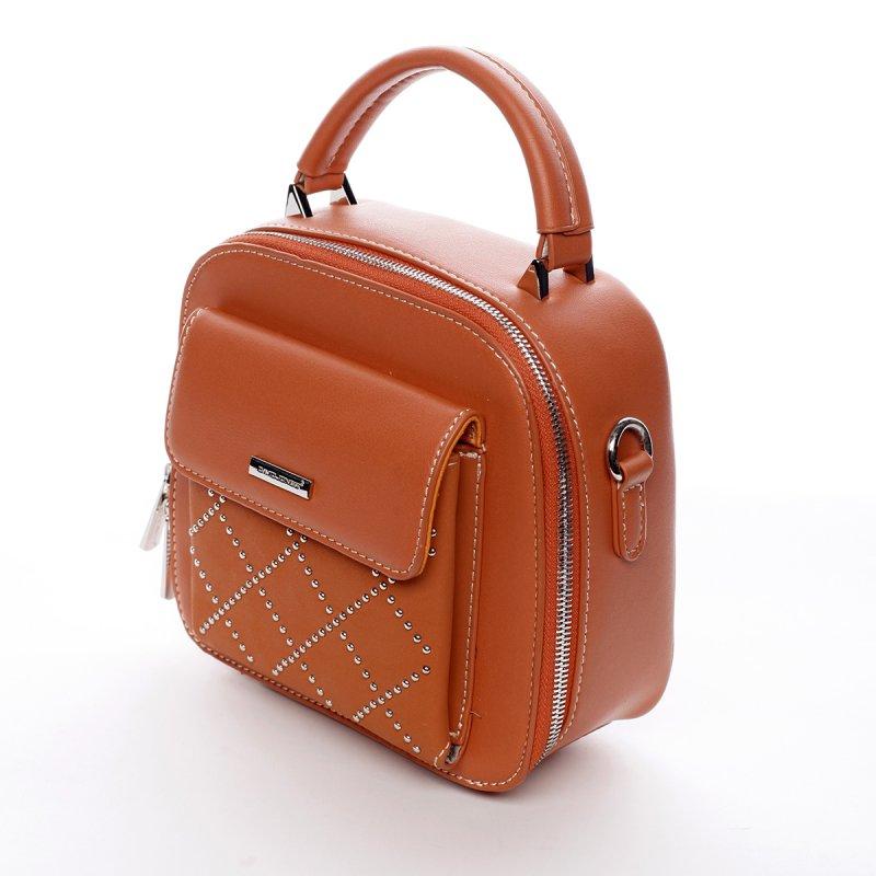 Menší stylová koženková kabelka City life oranžová