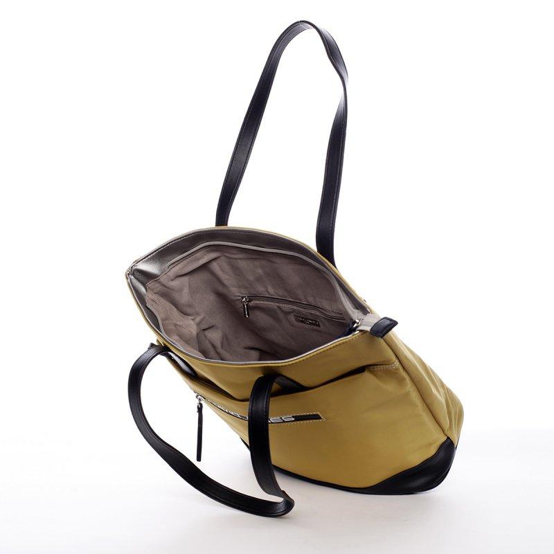 Kombinovaná koženkovo textilní kabelka Lara žluto černá