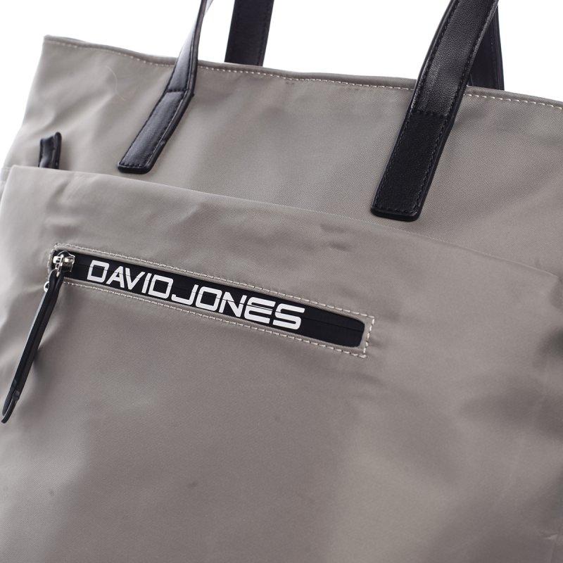 Kombinovaná koženkovo textilní kabelka Lara šedo černá