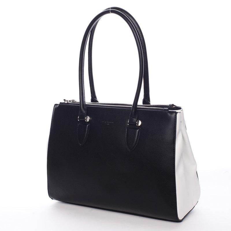 Elegantní dámská koženková kabelka Simple černo bílá