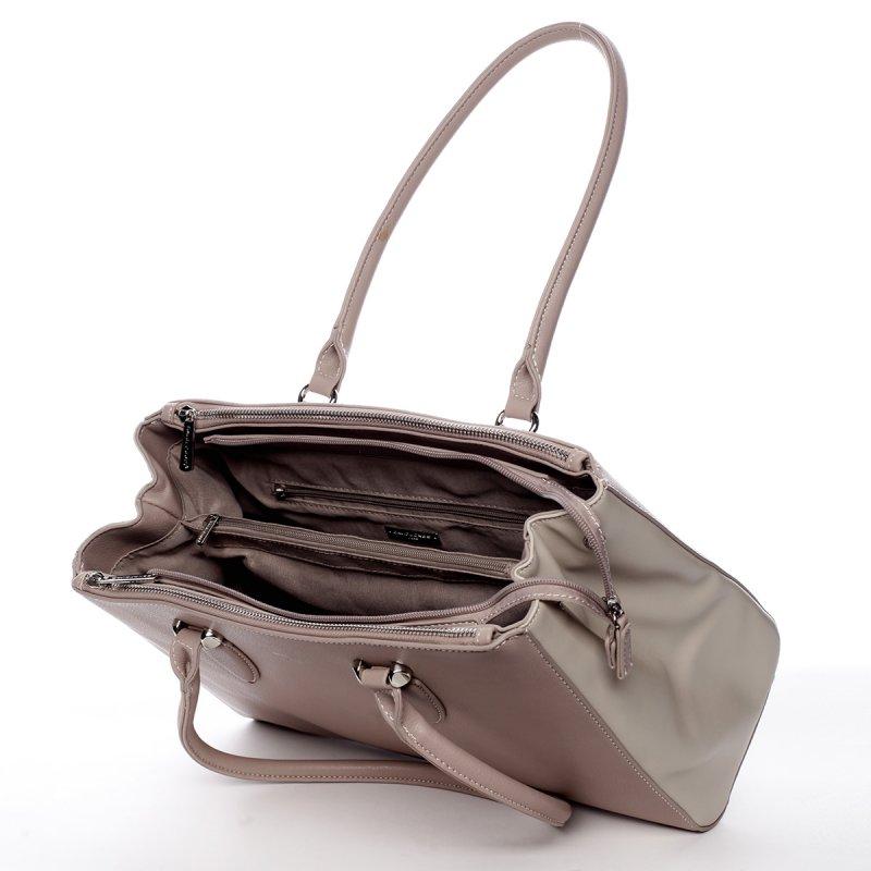 Elegantní dámská koženková kabelka Simple růžovo béžová