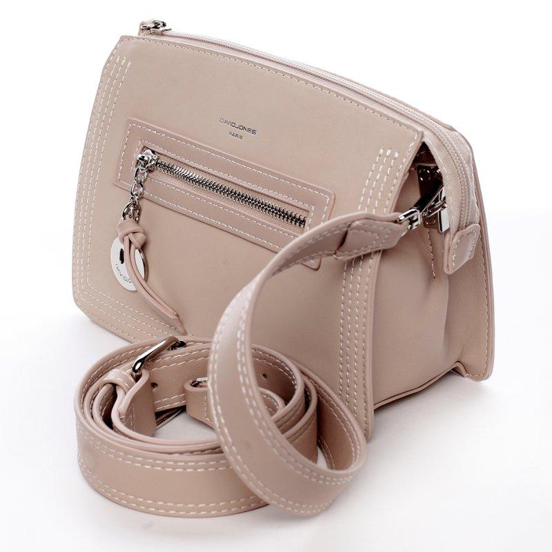 Menší stylová koženková kabelka s přívěškem Smile růžová