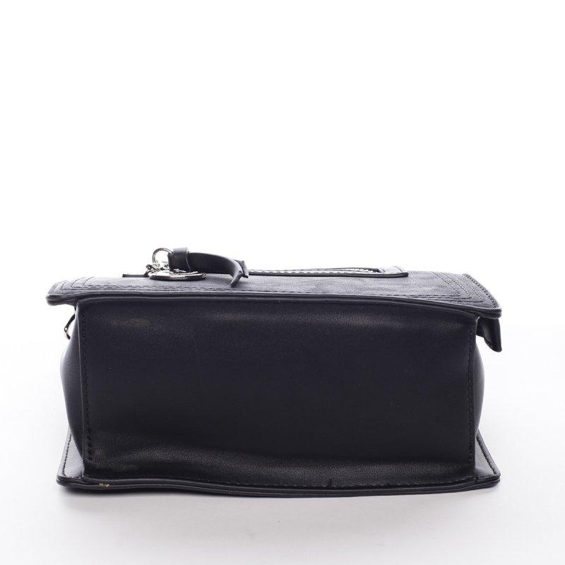 Menší stylová koženková kabelka s přívěškem Smile černá