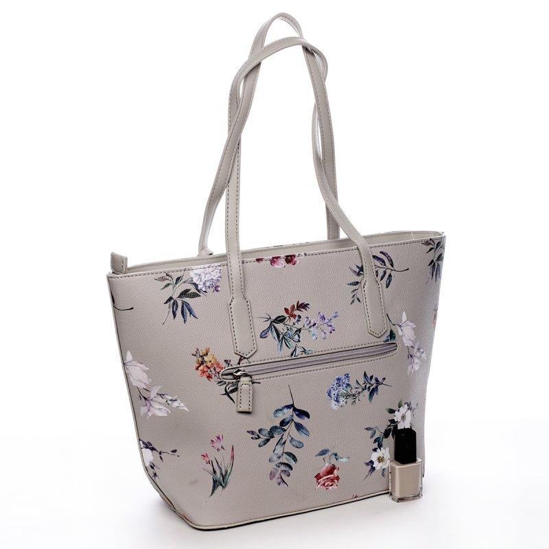 Romantická dámská koženková květovaná kabelka Nina šedá